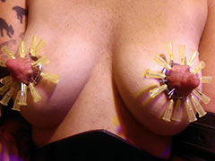Needles in areolas and nipples